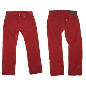 Levi's 514 Red Straight Fit Corduroy Jeans